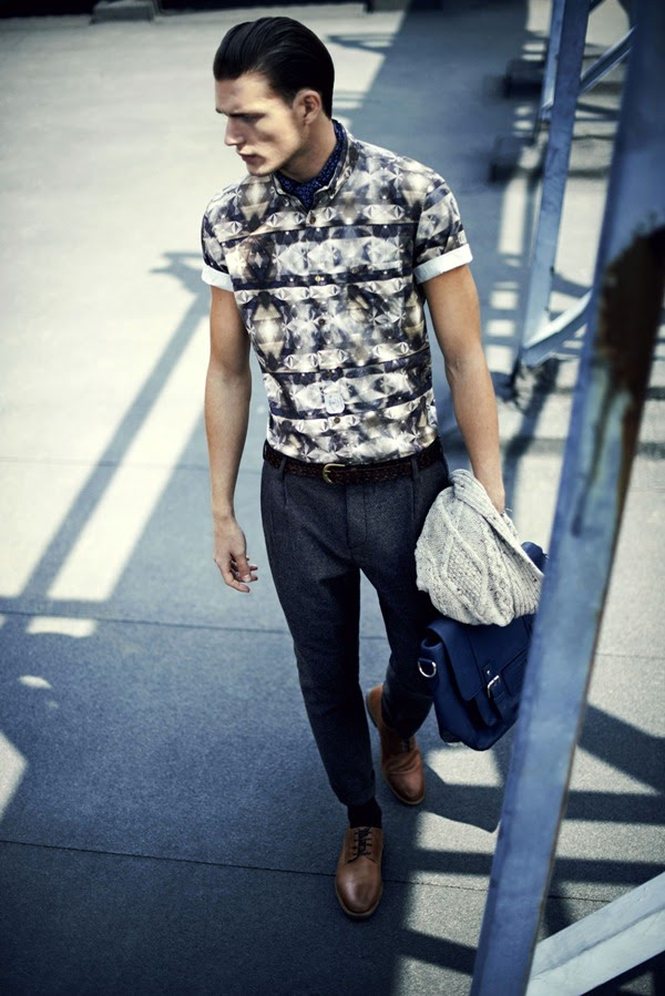 River Island Holloway Road A/W13 Lookbook Wool Blend Trousers Printed Shirt